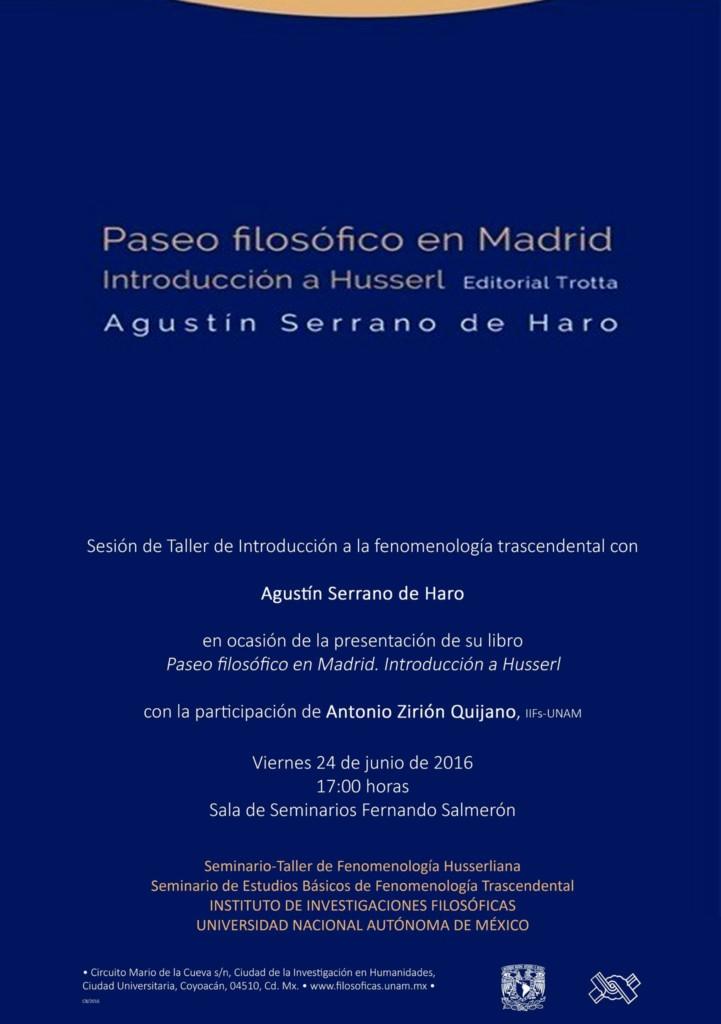 """Presentación de libro """"Paseo filosófico en Madrid. Introducción a la fenomenología"""" de A. Serrano de Haro"""